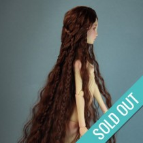 Ellana - ooak long wig - wavy auburn hair styled with braids (E4)