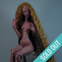 Ellana - ooak long wig - Wavy chestnut braided hair (E19)